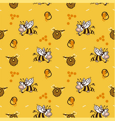 Happy cartoon cow bee honey hive seamless pattern vector