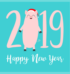 happy new year 2019 pink text cute fat pig santa vector image