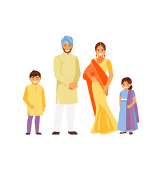 Indian family in traditional dress vector