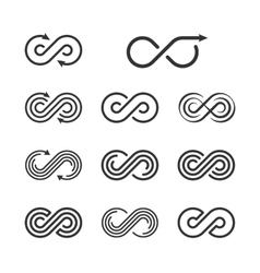 Infinity Logo Template Set Infinite Symbol Icon vector image