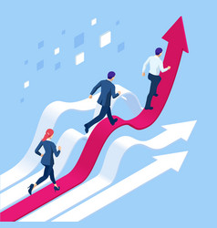 isometric business people running towards the vector image