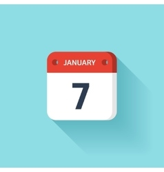 January 7 isometric calendar icon with shadow vector