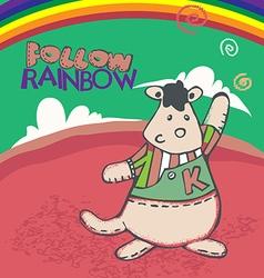 Kangaroo follow rainbow vector