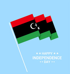 Libya independence day typographic design with vector