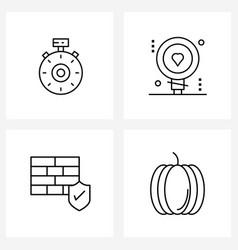 Line icon set 4 modern symbols browse vector