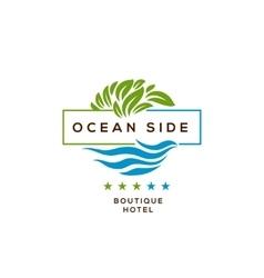 logo for hotel ocean side resort logotype design vector image