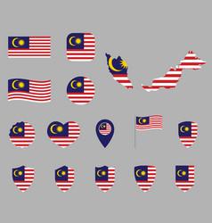 malaysia flag icons set symbols flag of vector image