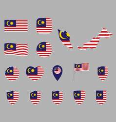 Malaysia flag icons set symbols flag vector