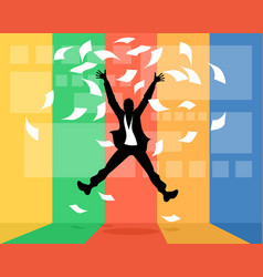 man jumping with joy vector image
