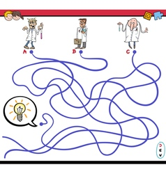 Maze game with scientist characters vector