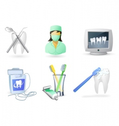 Medical icons set dentistry vector