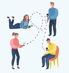 mobile messenger concept social media a group of vector image