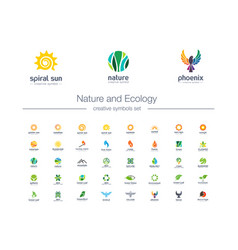 nature and ecology creative symbols set organic vector image