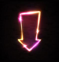 neon arrow banner isolated on black brick wall vector image