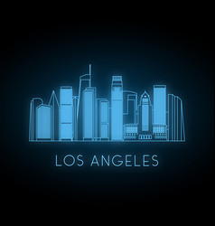 neon silhouette of los angeles city vector image