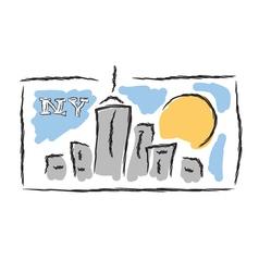 NY drawn cityscape symbol vector