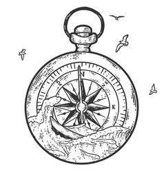 Ocean graphic with compass vector
