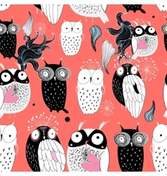 owls on a red background vector image