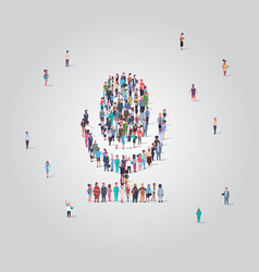 People crowd gathering in microphone shape social vector