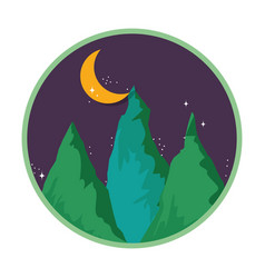 pines forest landscape in the night vector image