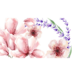 pink delicate flowers and lavender watercolor vector image