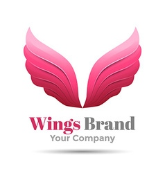 Pink simple wing logotype logo icon design vector