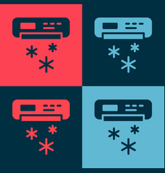 Pop art air conditioner icon isolated on color vector