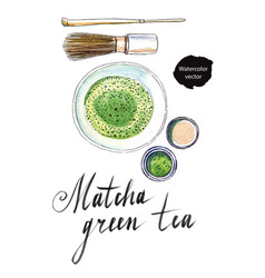 Powdered japanese matcha green tea vector