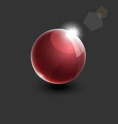 Realistic red glass ball 3d vector