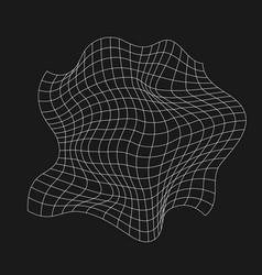 Retrofuturistic rumpled grid digital cyber retro vector