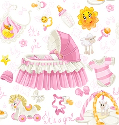 Seamless girls pattern of cribs toys and stuff vector