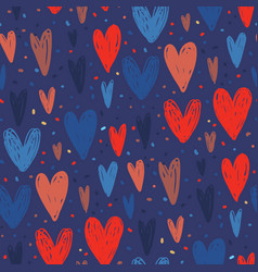 seamless pattern with hand drawn hearts vector image