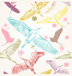Seamless wallpaper pattern with birds vector