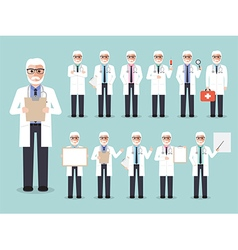 Senior doctor medical and hospital staff characte vector