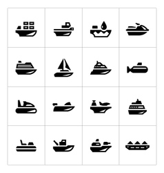 set icons water transport vector image