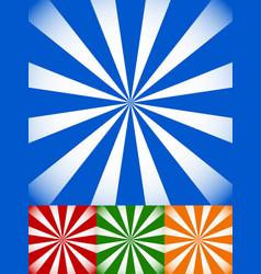 Set of colorful sunburst starburst backgrounds vector