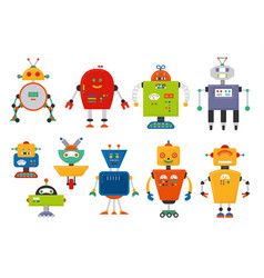 set of cute vintage cartoon robots vector image