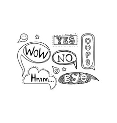 set of hand drawn speech bubbles with text vector image