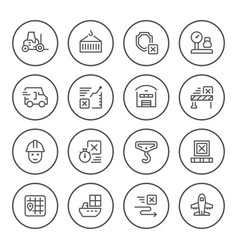 set round line icons logistics vector image