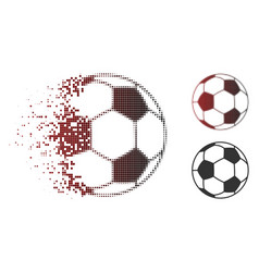 Shredded dotted halftone football ball icon vector