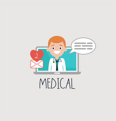Smiling doctor on laptop with email vector