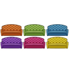 Sofa in six different colors vector