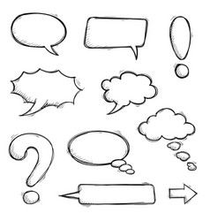 speech bubbles and punctuation marks hand drawn vector image