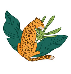 Spotted cheetah or leopard with wild leaves flora vector
