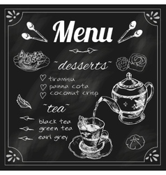 Teapot and teacup blackboard menu vector
