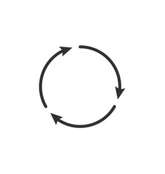 three circle clockwise arrows black icon isolated vector image
