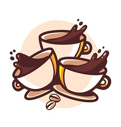 three cups of coffee with splashes on whi vector image