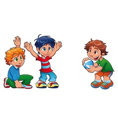Three kids are playing vector image