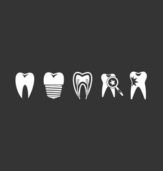 Tooth icon set grey vector