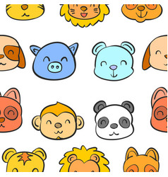 Various animal head of doodle style vector